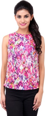 Zachi Casual Sleeveless Printed Women's Pink Top
