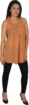 True Fashion Casual Sleeveless Solid Women's Orange Top