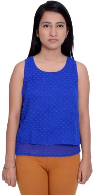 Snoby Casual Sleeveless Printed Women's Blue Top