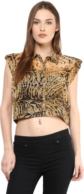 Shakumbhari Casual Short Sleeve Printed Women's Black, Yellow Top