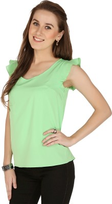 The Apparel Quotient Casual, Party Sleeveless Solid Women's Green Top