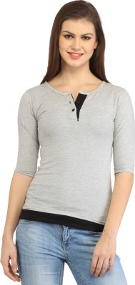 Cation Casual 3/4th Sleeve Solid Women's Grey Top at flipkart