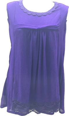 Dovekie Casual Sleeveless Self Design Women's Blue Top