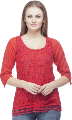 Clo Clu Party Roll-up Sleeve Embroidered Women,s Red Top