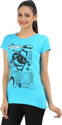 PEP18 Casual Short Sleeve Graphic Print Women's Blue, Black Top