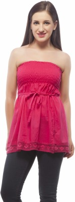 Indi Bargain Party Sleeveless Solid Women's Pink Top