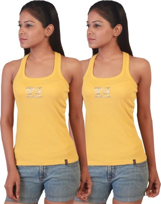 Twin Birds Casual Sleeveless Solid Women's Yellow Top
