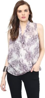 Rose Vanessa Casual Sleeveless Printed Women's Purple Top