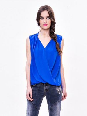 Envy Me Casual Sleeveless Solid Women,s Blue Top