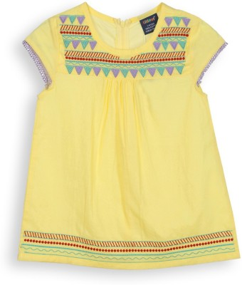 Lilliput Casual Short Sleeve Embroidered Girl's Yellow Top