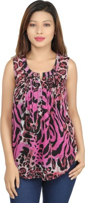 Chloe Casual Sleeveless Printed Women,s Brown, White Top