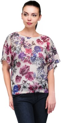 Pique Republic Casual Short Sleeve Floral Print Women's White Top