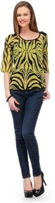1OAK Casual 3/4 Sleeve Printed Women's Yellow Top