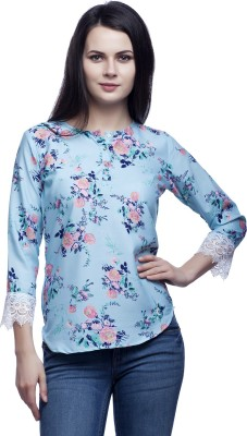 Mallory Winston Casual 3/4 Sleeve Floral Print Women's Light Blue Top