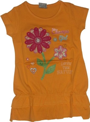 Red Rose Casual, Party, Festive Cap sleeve Applique Girl,s Yellow Top