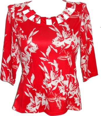 Forever 18 Casual 3/4 Sleeve Printed Women's Red Top