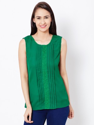 The Vanca Casual Sleeveless Solid Women's Green Top