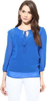 Harpa Formal 3/4th Sleeve Solid Women's Blue Top at flipkart