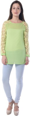Florrie Fusion Casual Full Sleeve Solid Women's Green Top