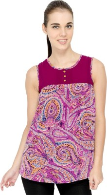 IDENTITI Casual Sleeveless Printed Women's Purple Top