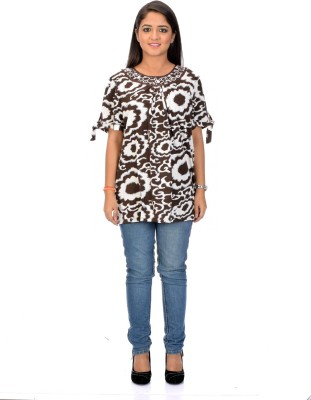Instinct Casual, Festive Short Sleeve Floral Print Women,s Brown, White Top