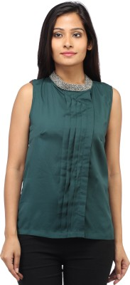 Entease Casual Sleeveless Embroidered Women's Green Top