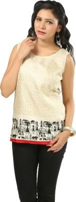 Shabari Casual Sleeveless Printed Women's Beige Top