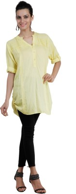 Pret a Porter Casual 3/4 Sleeve Solid Women's Yellow Top
