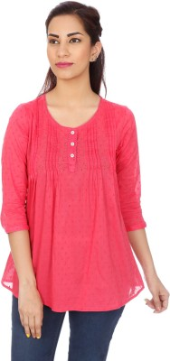 Clodentity Casual 3/4 Sleeve Self Design Women's Pink Top