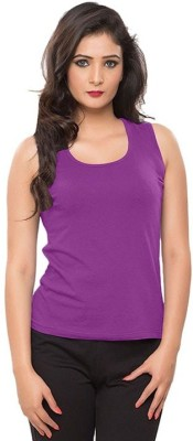 99DailyDeals Casual Sleeveless Solid Girl's Purple Top