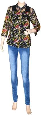 Port Formal 3/4 Sleeve Printed Women's Multicolor Top