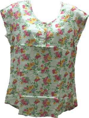 Dovekie Casual Sleeveless Printed Women's White Top