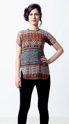 Silhouette Fashion Casual Short Sleeve Geometric Print Women's Brown, Grey Top