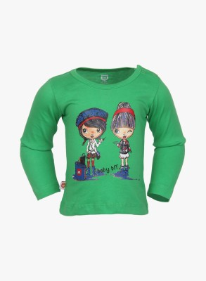Baby League Casual Full Sleeve Printed Baby Girl's Green Top