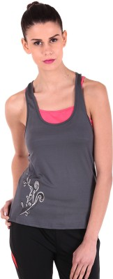 Sjoe Sports Sleeveless Printed Women's Grey, Pink Top
