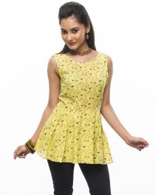 Moda Vastra Casual Sleeveless Printed Women's Yellow Top