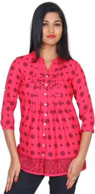 Clodentity Casual 3/4 Sleeve Self Design Women's Pink, Black Top