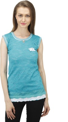 Time Expert Casual Sleeveless Printed Women's Light Blue Top
