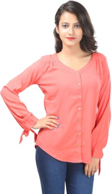 F by Faten Casual Full Sleeve Solid Women's Pink, Pink Top