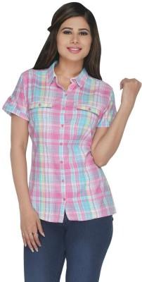 Fashion Wardrobe Women's Checkered Casual Pink, Light Blue Shirt