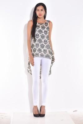 Rigoglioso Casual Sleeveless Printed Women's White Top