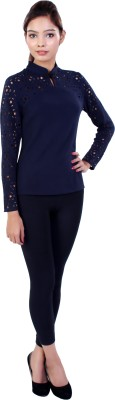 Ameri Formal Full Sleeve Solid Women's Blue Top