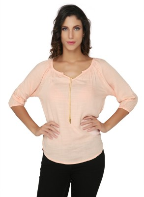 Philigree Casual 3/4 Sleeve Solid Women,s Pink Top