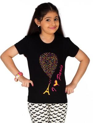Ventra Casual Short Sleeve Embellished Girl's Black Top