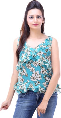 Avon Apparels Casual Sleeveless Floral Print Women's Blue Top