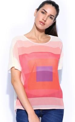HRX by Hrithik Roshan Casual Short Sleeve Printed Women's White Top