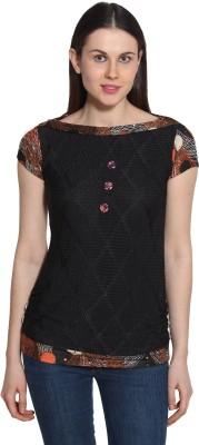 Sienna Casual Short Sleeve Printed Women's Black Top