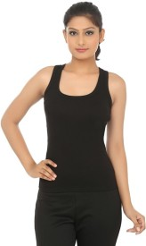 Friskers Casual Sleeveless Solid Women's Black Top