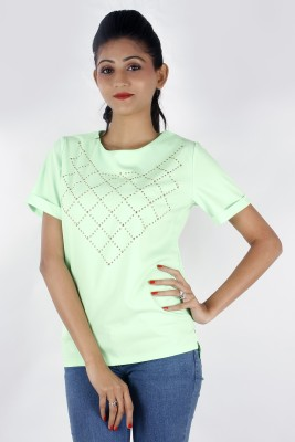 Zolake Casual Short Sleeve Geometric Print Women's Green Top