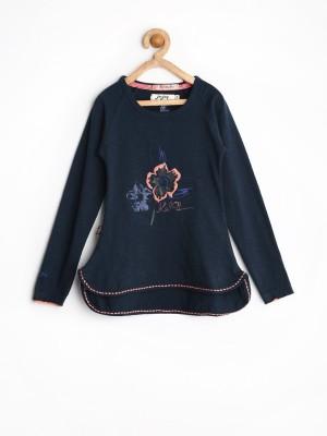 Jn Joy Casual Full Sleeve Printed Girl's Dark Blue Top
